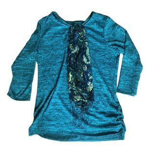 NY Collection Pullover Top Fringe Scarf Teal Mediu